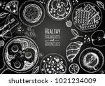 breakfasts top view frame.... | Shutterstock .eps vector #1021234009