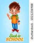 kid illustration for school | Shutterstock .eps vector #1021236988