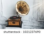 old gramophone with horn... | Shutterstock . vector #1021237690