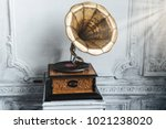 old record player against... | Shutterstock . vector #1021238020