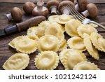 italian homemade ravioli style...   Shutterstock . vector #1021242124