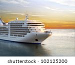 luxury cruise ship sailing from ... | Shutterstock . vector #102125200