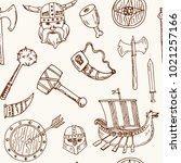 viking elements hand drawn... | Shutterstock .eps vector #1021257166