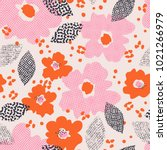 seamless pattern with flowers... | Shutterstock .eps vector #1021266979