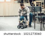 young student of robotics... | Shutterstock . vector #1021273060