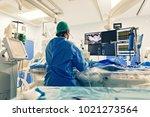 cardiologist doing catheter... | Shutterstock . vector #1021273564