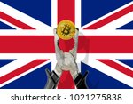 bitcoin coin being squeezed in... | Shutterstock . vector #1021275838