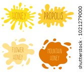 honey splash set of labels.... | Shutterstock .eps vector #1021279000