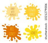 honey splash set of labels.... | Shutterstock .eps vector #1021279006