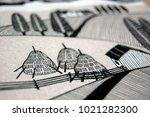 rural landscape with haystacks  ... | Shutterstock . vector #1021282300