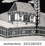 traditional rural house  black... | Shutterstock . vector #1021282324