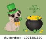 saint patricks day c ard with a ... | Shutterstock .eps vector #1021301830