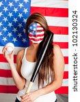 Female American Baseball Fan...