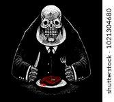 a fat skeleton gentleman  a... | Shutterstock . vector #1021304680