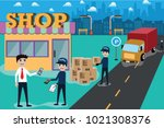 smart service delivery by ... | Shutterstock .eps vector #1021308376