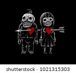 two lovers skeleton of a man... | Shutterstock . vector #1021315303