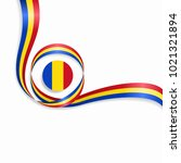 romanian flag wavy abstract... | Shutterstock . vector #1021321894