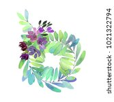 watercolor flowers wreath on a... | Shutterstock . vector #1021322794