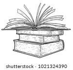 stack of books illustration ... | Shutterstock .eps vector #1021324390