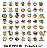 set of cute rainbow flag... | Shutterstock .eps vector #1021336729