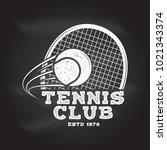 tennis club badge. vector... | Shutterstock .eps vector #1021343374
