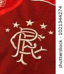 Small photo of ZAGREB, CROATIA - FEBRUARY 09, 2018. - Scottish football club Glasgow Rangers emblem on jersey.