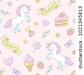 cute white unicorns and sweets...   Shutterstock .eps vector #1021345813