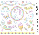 cartoon unicorns  sweets ... | Shutterstock .eps vector #1021345816