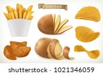 potato  wedges and fry chips.... | Shutterstock .eps vector #1021346059