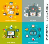 four square designer tools... | Shutterstock . vector #1021353019