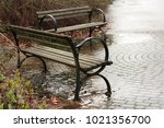 two old vintage benches raining ... | Shutterstock . vector #1021356700