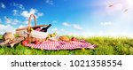 picnic   basket with bread and...   Shutterstock . vector #1021358554