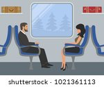 passengers in the train car.... | Shutterstock . vector #1021361113