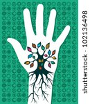 Green concept tree in hand with roots as veins. Vector file layered for easy manipulation and custom coloring. - stock vector