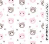 seamless pattern of cute pastel ... | Shutterstock . vector #1021366420