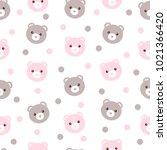 seamless pattern of cute pastel ... | Shutterstock . vector #1021366420