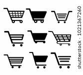 shopping cart. set of... | Shutterstock .eps vector #1021367260