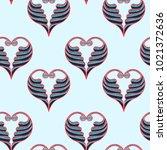 hearts vector background.... | Shutterstock .eps vector #1021372636