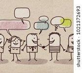 cartoon people and social... | Shutterstock . vector #1021372693