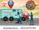 smart logistics concept... | Shutterstock .eps vector #1021373740