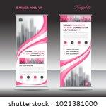 pink roll up banner template ... | Shutterstock .eps vector #1021381000
