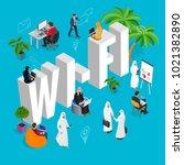 isomeric wi fi concept. web... | Shutterstock . vector #1021382890