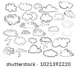 vector clouds doodle collection.... | Shutterstock .eps vector #1021392220