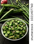 slow cooked okra with spices ... | Shutterstock . vector #1021407760