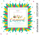 2018 carnaval funfair card with ... | Shutterstock .eps vector #1021410919