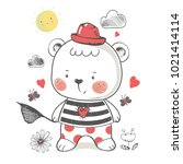 bear. hand drawn vector... | Shutterstock .eps vector #1021414114