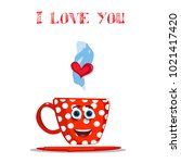i love you card with cute... | Shutterstock .eps vector #1021417420