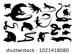 set of reptile silhouette... | Shutterstock .eps vector #1021418080