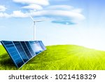 solar cell on field grass and... | Shutterstock . vector #1021418329