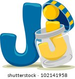 Illustration Featuring the Letter J - stock vector